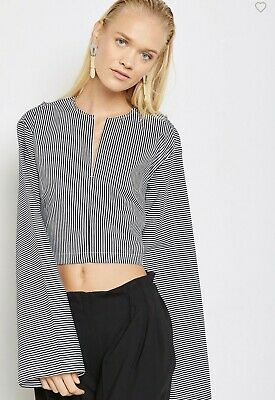House of Sunny Striped Cropped Long sleeve Top Size 12