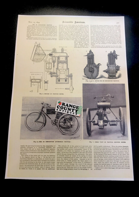 1899 The De Dion-Bouton Automobile Tricycle Advertising Poster Bicycle