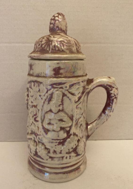 "Ceramic Bronze Iridescent Lidded Stein Embossed 7.75"""