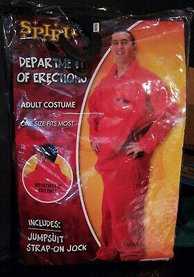 Dept Of Erections Prisoner Adult Orange Costume Jumpsuit SPIRIT Halloween  - Halloween Costume Prisoner Jumpsuit