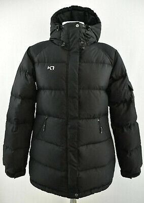 KARI TRAA Womens Down Padded Jacket Outdoor Winter Puffer Black Long Coat Size L