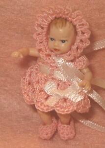 Heidi Ott Baby Doll Miniature Handmade Dress,Bonnet and little Booties set