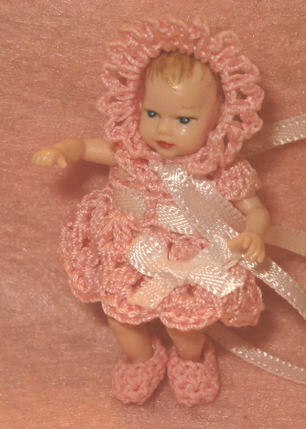 Miniature Handmade Dress,Bonnet and little Booties set for Heidi Ott Baby Doll