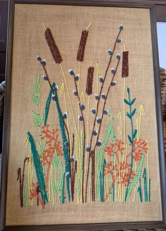"""Crewel Embroidery Wall Art Fall Flowers Cat Tails Vintage Completed 31""""x21.5"""""""