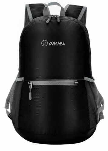1ZOMAKE Black Ultra Lightweight Packable Backpack Water Resistant Hiking Daypack Camping & Hiking