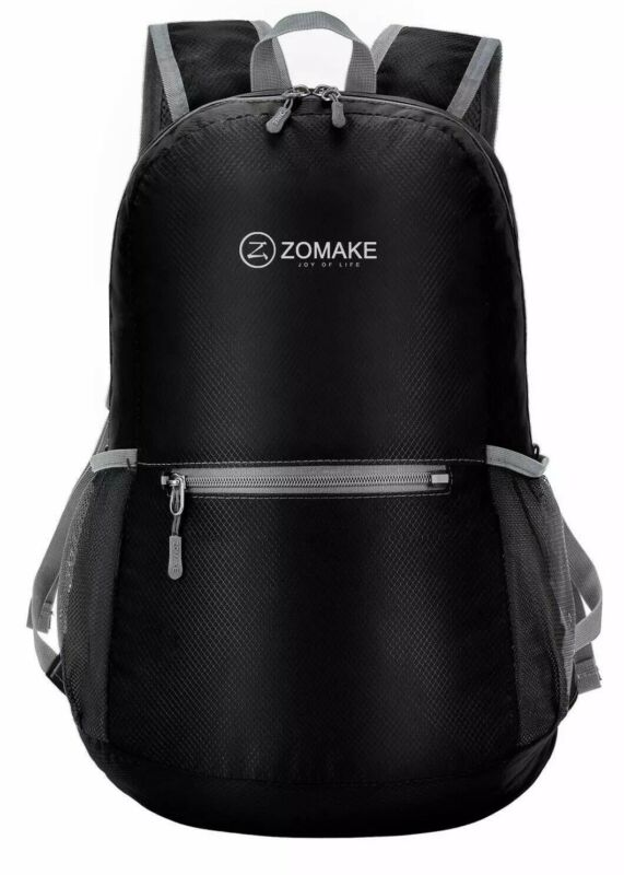1ZOMAKE Black Ultra Lightweight Packable Backpack Water Resistant Hiking Daypack