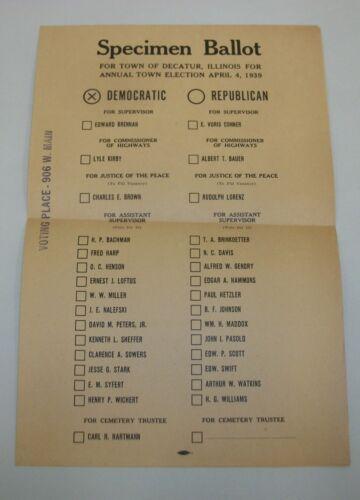 Vintage 1939 Political Specimen Voting Ballot Decatur Illinois