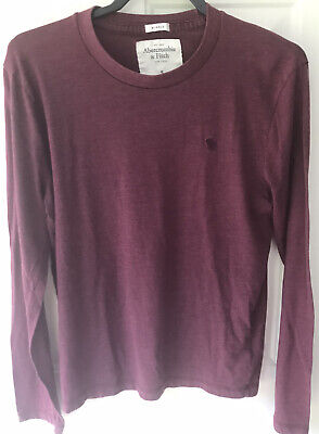 Abercrombie & Fitch Muscle Long Sleeve Shirt Dark Red Mens Size S