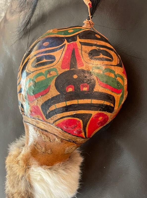 "VINTAGE 1977 Haida Gwaii Spirit/Dance Rattle BY TWIN BEARS ""Huajan"" READ"