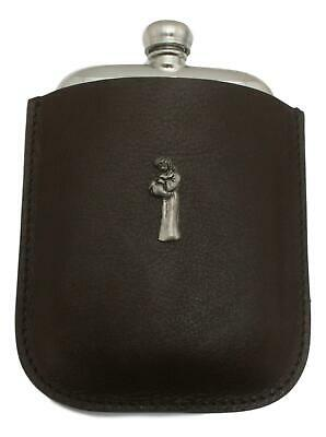 Aquarius Carrier Pewter 4oz Kidney Hip Flask In Leather Pouch FREE ENGRAVING 008