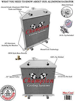 3 Row All Aluminum CA Champion Radiator For 1942   48 FordMercury Flathead Conv