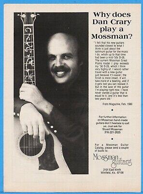 1980 Dan Crary Mossman Guitars Great Plains Model Winfield Kansas Vintage Ad