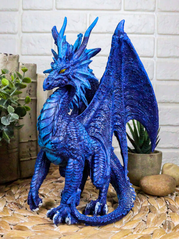 """Ruth Thompson Fantasy Blue Check Mate Dragon With Majestic Horns Statue 9"""" Tall"""