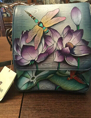 anuschka hand painted leather handbags Dragonfly new