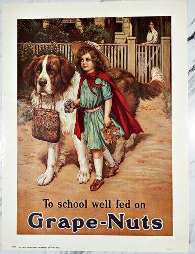 "VINTAGE 1975 TO SCHOOL WELL FED ON GRAPE-NUTS POSTER YP085 18""x24"""