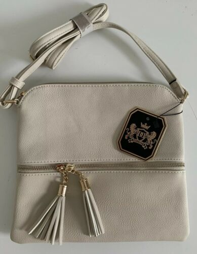 Deluxity Tasseled Flat Mini Crossbody Bag Ivory Beige