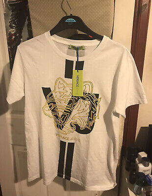Mens Versace Jeans T-Shirt Crew Neck Designer White Gold - Size Medium