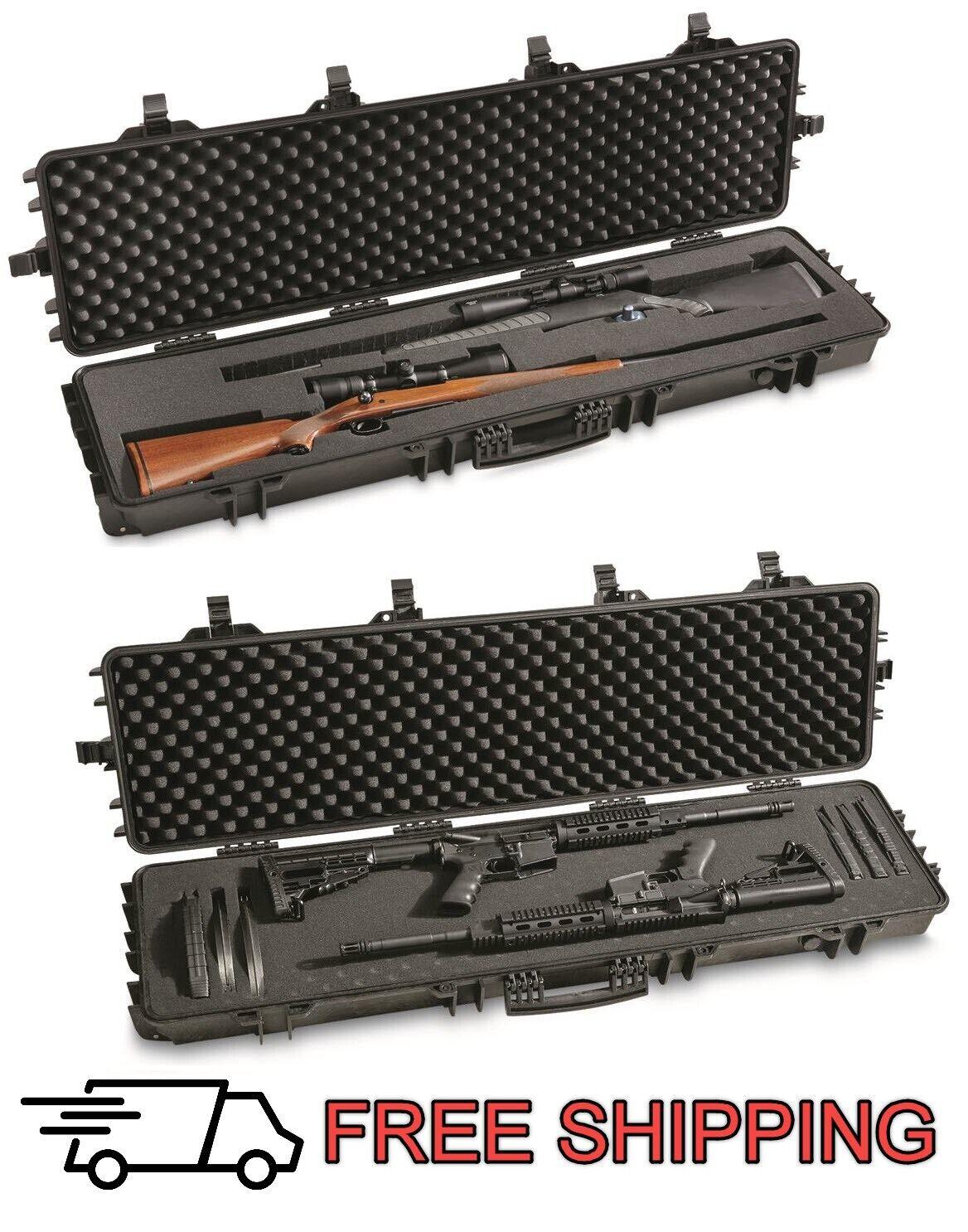 Two Gun Rifle Shotgun Hard Case Waterproof AR Lockable Foam
