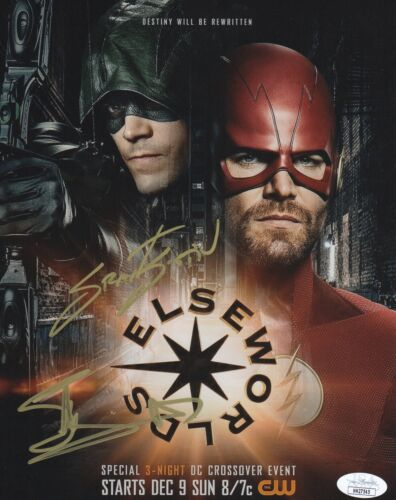 Grant Gustin Stephen Amell Flash Arrow Autographed Signed 8x10 Photo JSA COA