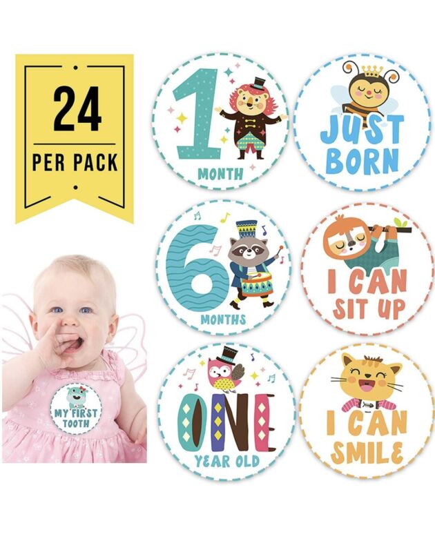 24pc Baby Monthly Milestone Stickers, Baby Month Stickers for Baby Girl Boy as