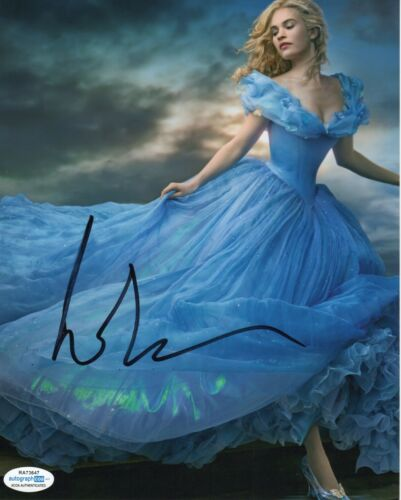 Lily James Cinderella Autographed Signed 8x10 Photo ACOA