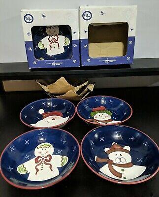 "Set of 8 Ceramic Soup Bowls 8"" - Santa Snowman Bear Gingerbread The Cellar 1999"