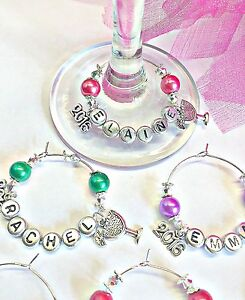 1  PERSONALISED 2016 WINE GLASS CHARM  table place /Party WEDDING special event