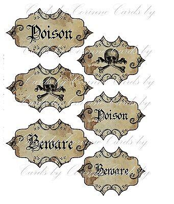 Halloween apothecary 6 bottle jar labels beware poison skeleton glossy laminated - Halloween Jars Crafts