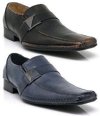 New Men Dress Shoes Formal Wedding Slip On loafers Black White Blue Brown Tony