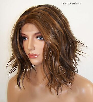 Brown Auburn Medium Layered Lace Front Wig Heat safe Beachy Waves Curls -