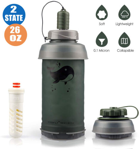 Water Filter and Purifier with Foldable and Collapsible Bott
