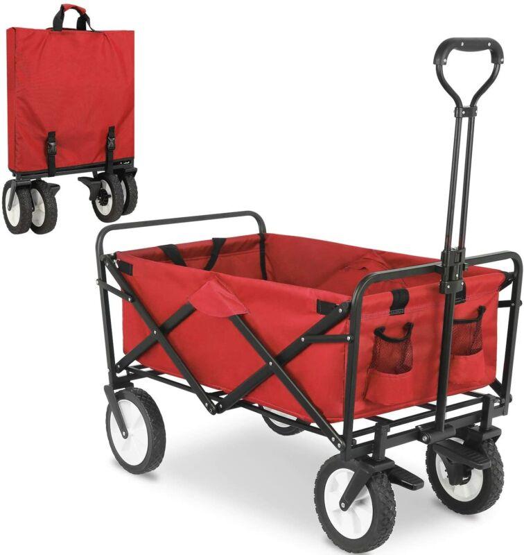 Collapsible Utility Wagon All Terrain Wheel Heavy Duty Beach Shopping Garden
