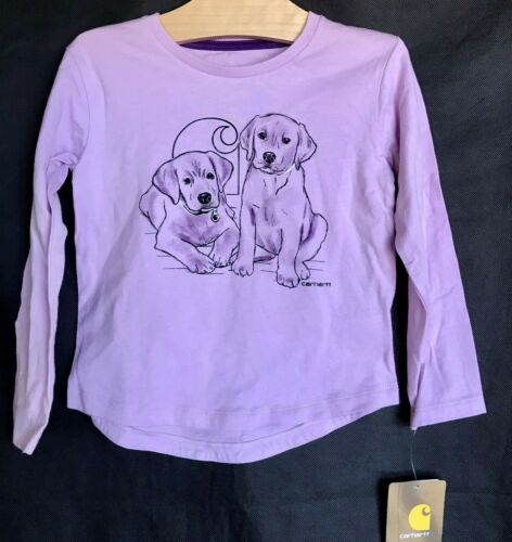 CARHARTT Purple w/ Dog Graphic Long Sleeve Shirt Toddler Girl Size 3T NEW!