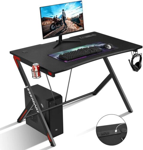 "45""Gaming Desk Computer Table PC Laptop Ergonomic Racing Style Gamer Workstation"