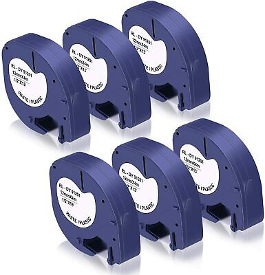 6 Pack Ikong Compatible Label Tape Replacement For Dymo Letratag Refills 91331
