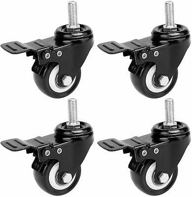 2 Inch Swivel Caster Wheels 25mm Threaded Stem 4 Pcsset All With Brake
