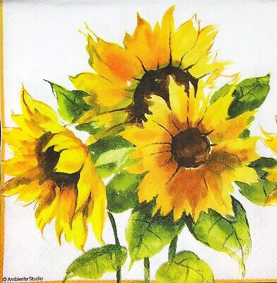 3 x Single SMALL Paper Napkins For Decoupage Craft Tissue Sunflower Flowers S017
