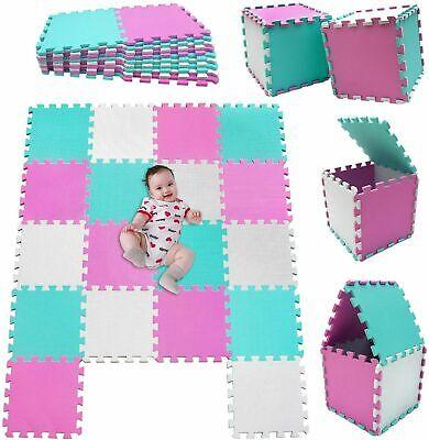 Alfombra Puzzle Para BebÉs Goma Eva Lisas 18 Piezas 30x30cm