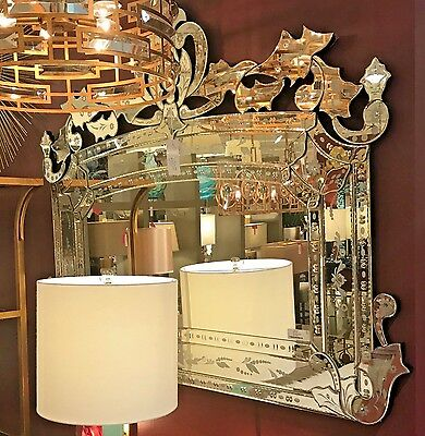 ORNATE BEVELED ETCHED Arched VENETIAN WALL MIRROR Buffet Mantel Horizontal 55""