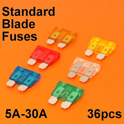 Quality 36pc Standard Blade Fuses For Car Van Bike Fuse 5A 10A 15A 20A 25A 30A