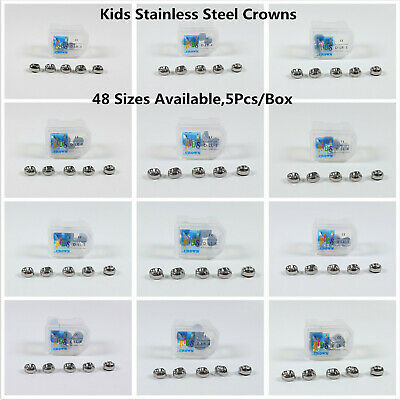 5Pc Dental Kids Primary Molar Crowns Stainless Steel Pediatric 48 Sizes Dentist](Kids Crowns)