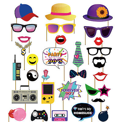 90s Themed Decorations (30PCS 90s Throwback 1990s Party Theme Photo Booth Props Hip Hop Photobooth)