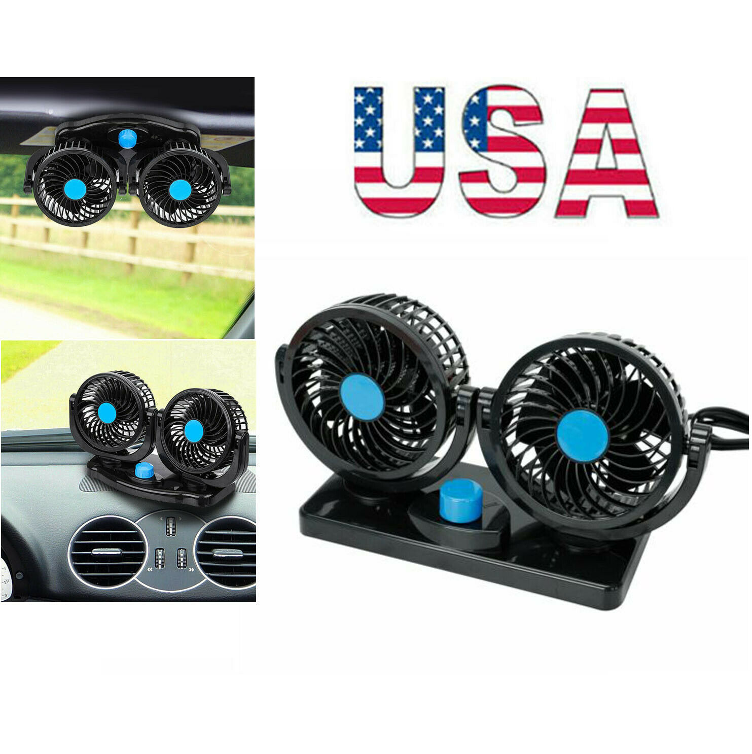 12V Dual Head Car Fan Portable Vehicle Truck 360° Rotatable Auto Cooling Cooler Car & Truck Parts