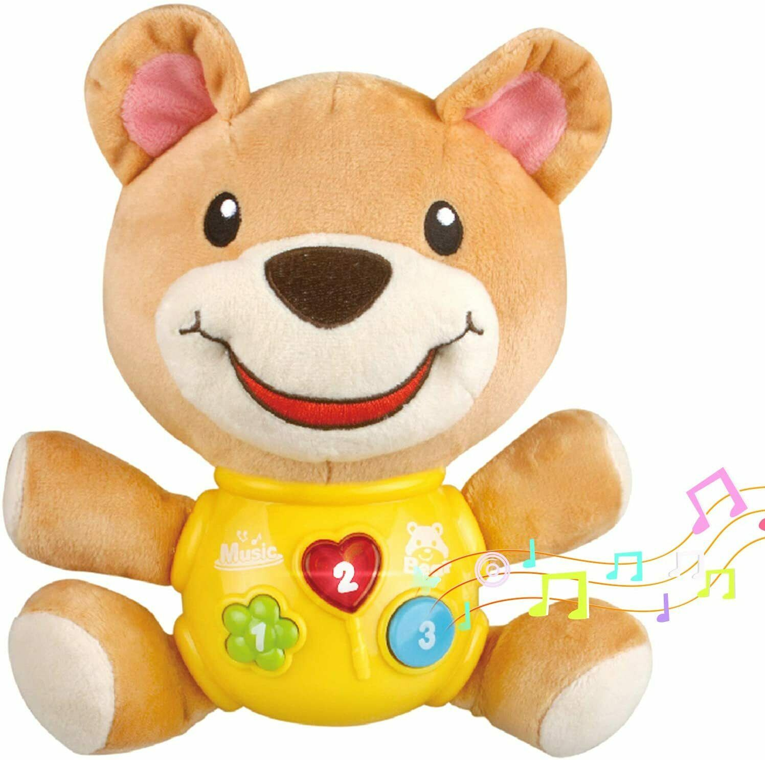 Plush Baby Toy Infant Musical Toys Bear Stuffed Animal Toys with Light 12 Music Baby