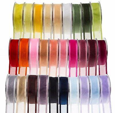 Full Reel 25 Metre Satin Edge Organza Ribbon 10 15 25 40mm Various Colours