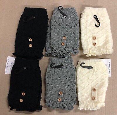 6 Pack Boot Cuffs Short Socks Toppers Women Crochet Knit Shell Leg Calf Warmers Crochet Leg Warmers