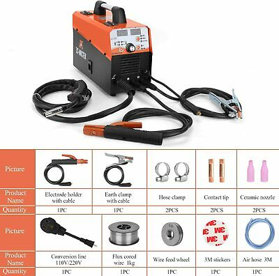 Mig Welder 125a Dual Voltage Flux Coresolid Automatic Feed Wire 4 In 1 Welding