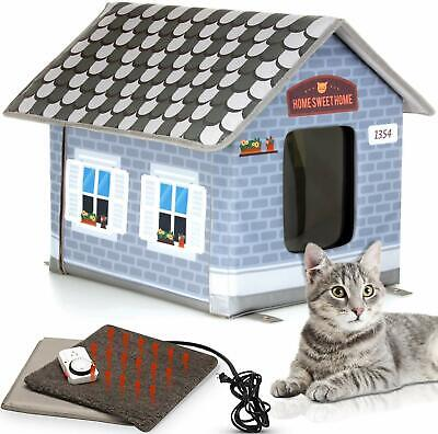 Heated Outdoor Cat House Weatherproof Cat Small Dog Warm Pet Shelter Carrier NEW