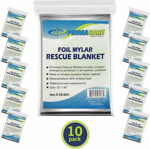 Emergency Foil Mylar Thermal Blanket (Pack of 10), 52 Length x 8