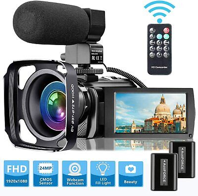 Video Camera Camcorder with Microphone, VideoSky FHD 1080P 30FPS 24MP Vloggin...